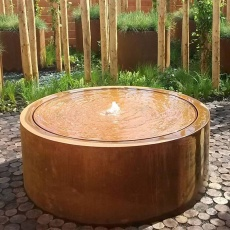 Table d'eau ronde en corten D100